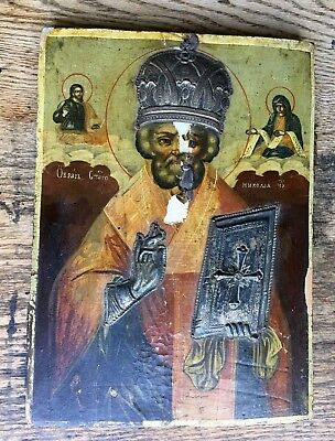 19th Century Imperial RUSSIAN ORTHODOX ICON Saint Nicholas ANTIQUE CHRISTIAN