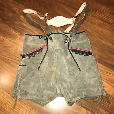 Authentic Vtg Child Kids LEDERHOSEN shorts Suspenders Boys Gray Suede Leather 4
