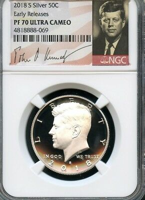 2018 S SILVER KENNEDY HALF DOLLAR Early Releases NGC PF70 Ultra Cameo SIGNATURE