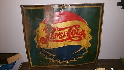 Vintage Pepsi Cola DOUBLE DOT bottle cap -metal sign 1940s
