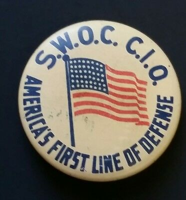 Vintage First Line Of Defense Wwii Era Steel Workers Organizing Committee Pin
