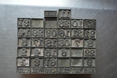 Vintage Small Letterpress Printing Blocks Mixed Lot Numbers Months