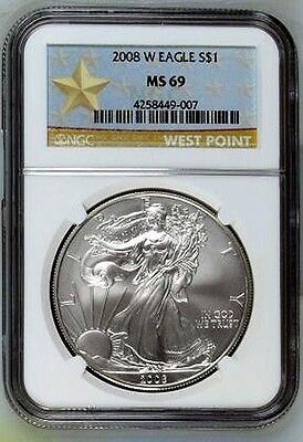 2008-W  burnished  SILVER EAGLE - NGC MS69 - buy it now - WEST POINT LABEL