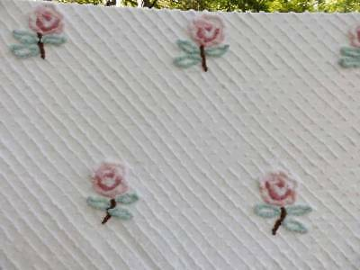 SWEET VINTAGE CHENILLE BEDSPREAD~PINK ROSES~CUTTER~CRAFTS~94 x 104