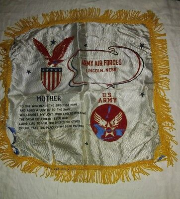 US Army Air Forces WWII Sweetheart Satin Pillow Lincoln Nebraska