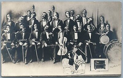 PENTUCKET ORCHESTRA 1910 PHOTOMONTAGE ANTIQUE REAL PHOTO POSTCARD RPPC collage