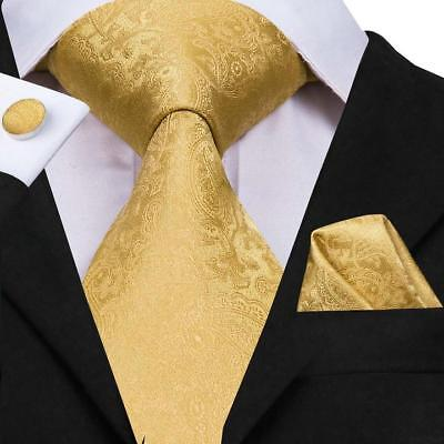 Classic Gold Paisley Mens Tie Necktie Silk Woven Set Wedding Formal Business New