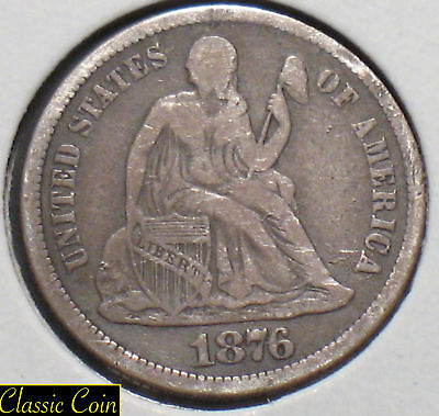 1876-CC Silver Seated Liberty Dime 10c VF Details 90% Silver