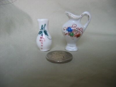 Vintage lot of 2 China Miniature Made in Japan Vase Pitcher Urn  - for Shadowbox