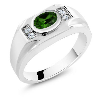 2.26 Ct Green Simulated Emerald White Created Sapphire 925 Silver Men's Ring