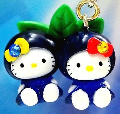 Hello Kitty X Blueberry Twins Swarovski Elements Crystals Japan Charm Pendant