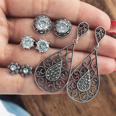 4Pairs/Set Bohemian Rhinestone Crystal Stud Earrings Women Charm Party Jewelry