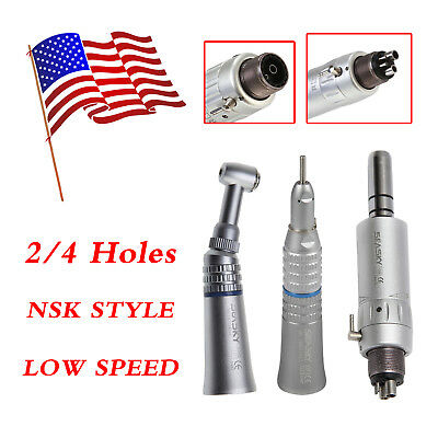 NSK Style Dental Slow Low Speed Push Button Contra Angle Handpiece Kit 2/4 Hole