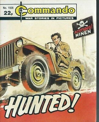 Hunted !,commando War Stories In Pictures,no.1928,war Comic,1985