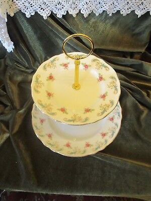 Lovely Vintage Shabby Chic Ditsy English China Plated 2 Tier Cake Stand Rosebud