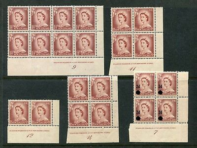 QEII 11/2' Lake Brown Plate Blocks 7, 9, 11, 12 & 14