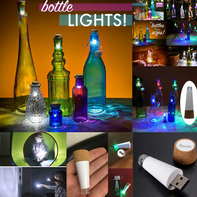 1/3PCS LED Wine Bottle Cork Night Light USB Rechargeable Xmas Party Decor Lamp