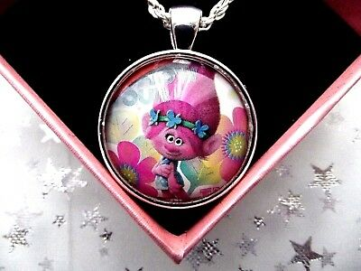 Trolls Poppy Pink Photo Silver Necklace 22  Inch Chain Gift Box Birthday Party