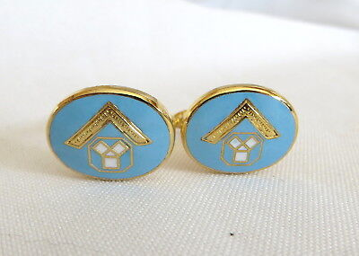 Pair Of Pale Blue Enamelled Masonic Cufflinks (24A)