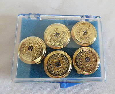 5 Button-Style Clip On Masonic Badges - Hinged Fitting  (4D)