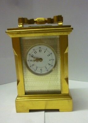 Rare Miniature Antique Brass Carriage Clock 2.75ins High In Good Working Order