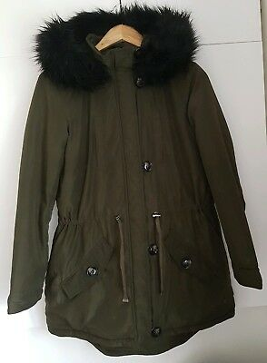 Dorothy Perkins Size 10 Uk Maternity Hooded Faux Fur Hooded Parka Khaki Green