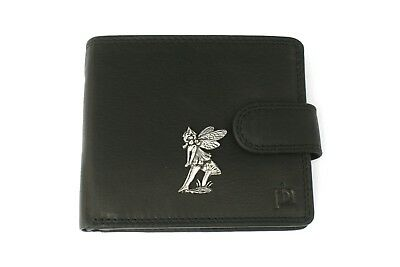 Sitting Fairy Mens Leather Wallet BLACK or BROWN Fairy Gift 122