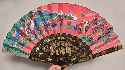 A Beautiful Antique Chinese Painted Hand Fan With Original Case