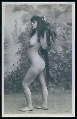 French full nude woman long hair wild hairdo original early 1900s photo postcard