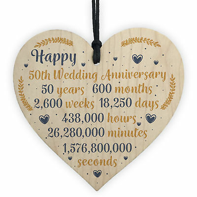 Happy 50th Wedding Anniversary Sign Gift Heart Fifty Years Husband Wife Gifts