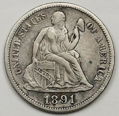 1891-s Liberty Seated Dime.  V.F.  126679