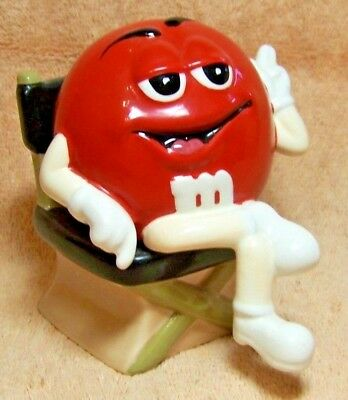 """MARS """"RED M&M in DIRECTOR'S CHAIR"""" SALT & PEPPER SHAKERS"""