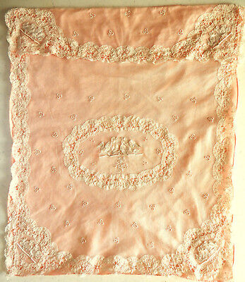 Antique Victorian Applicate & Lace Crib Or Carriage Baby Coverlet