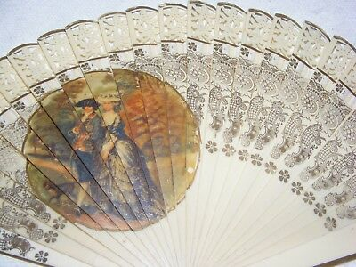 Vintage Hand Held Cooling Fan Pierced Decoration Regency Scene Fold Open Ladies