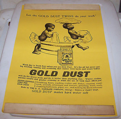 "Gold Dust Twins Soap Black Americana Paper Sign about 18"" x 12.5"