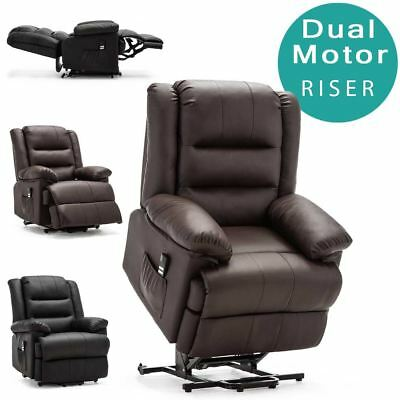 Loxley Dual Motor Electric Riser Recliner Bonded Leather Mobility Lift Chair