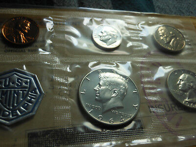1964 US Proof Set with COA--Original Envelope-- 3 90% silver coins--
