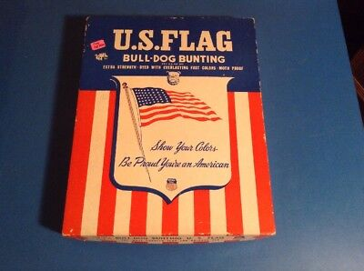 Vintage 48 Star flag Bulldog Bunting USA IN ORIGINAL BOX