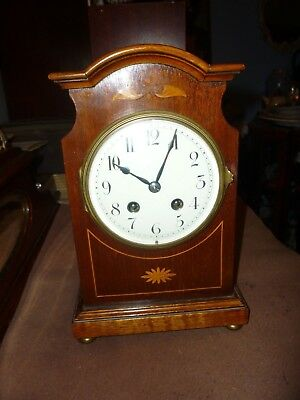 Very Pretty Victorian Inlaid Mahogany 8 Day Striking Mantle Clock Just Been Serv