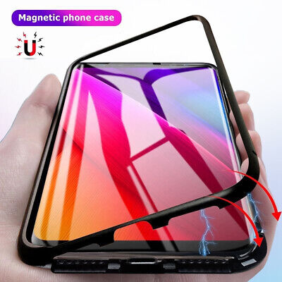 For Samsung Note 9 8 S9 S8 Magnetic Adsorption Metal Case Cover Tempered Glass
