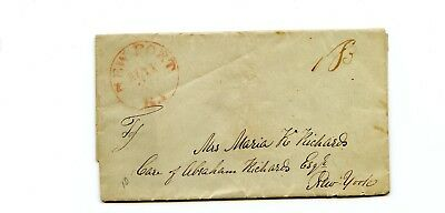 USA Stampless Cover 1845 Newport RI>New York 2 letters in 1 - Steamboat trip kid
