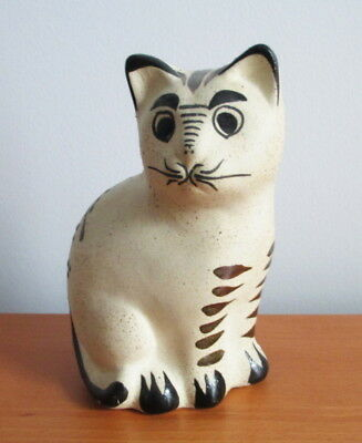 "Mexico Pottery Sitting Cat Figurine 5 1/2"" Hand Painted Blue Green Signed RS"