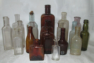 Lot of 18 Antique Glass Medicine Bottles (Apothecary & Pharmaceutical)