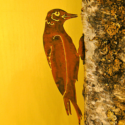 Rusty Metal Woodpecker Bird Silhouette Accent for Inside or Out,Porch,Fence