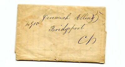 USA Stampless Cover 1848 Boston>Bridgeport CT Husband has died, Childen very sad