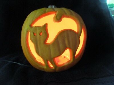 Collectible Lighted Halloween Pumpkin w/Cat Silhouette Holiday Decorations