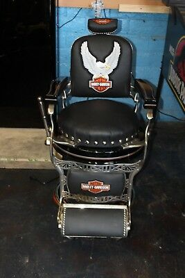 1920-30s Koken Harley Davidson Themed Antique Barber Shop Chair