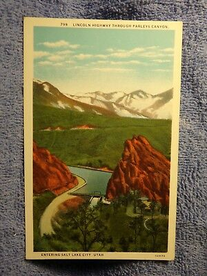 Vintage Postcard Lincoln Highway Through Parleys Canyon, Salt Lake City, Utah