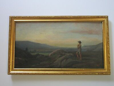 Karl Signed Painting Antique 19Th Century Surveyor ? Hiker? Mountain Top Old