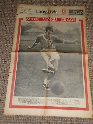 1961 Liverpool's Gordon Milne Liverpool Echo Paper With Beatles At Page Moss Ham